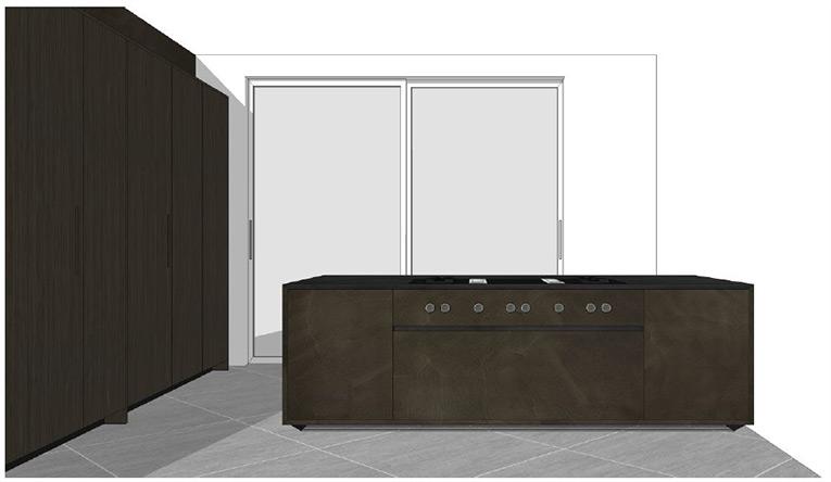Projet double lot one en m tal bronze lisse colonnes en ch ne - Customiser une cuisine en chene ...