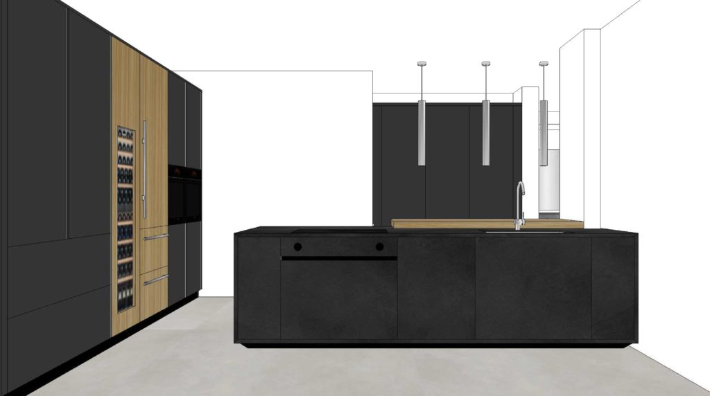 Project 3d kitchen ONE with island in Black Cement troweled by hand. RiFRA Kitchens and baths direct from Milan