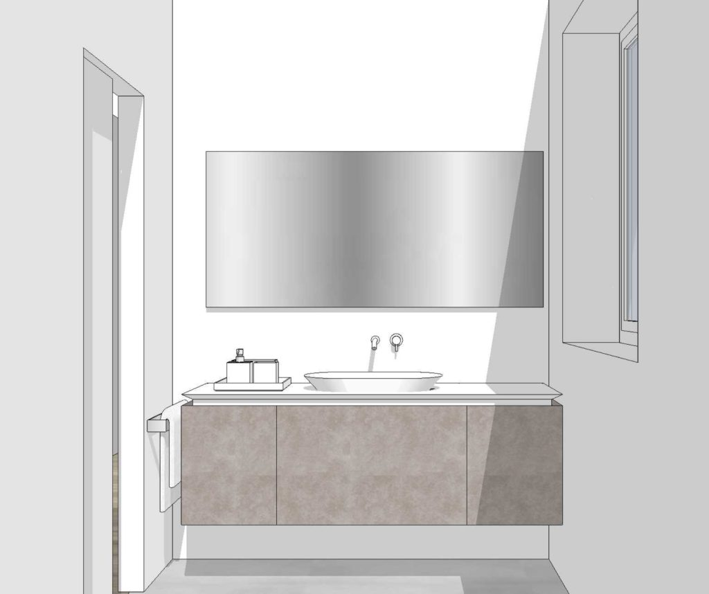 """3d project. K.LINE collection in matt lacquered finish color rope, with """"new Ellisse"""" ceramic countertop washbasin. RiFRA Kitchens and Baths direct from Milan."""